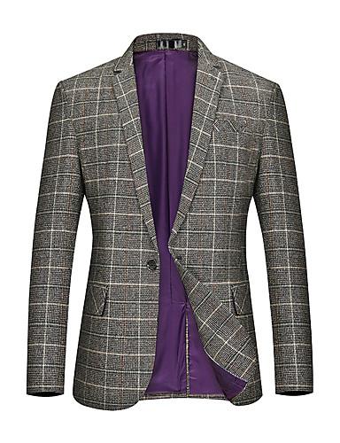 voordelige Herenblazers & kostuums-Heren Blazer, Ruitjes Ingesneden revers Rayon / Polyester Klaver / Khaki