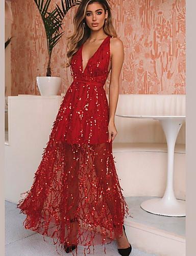 hesapli Maksi Elbiseler-Kadın's A Şekilli Elbise - Solid, Püskül Maksi