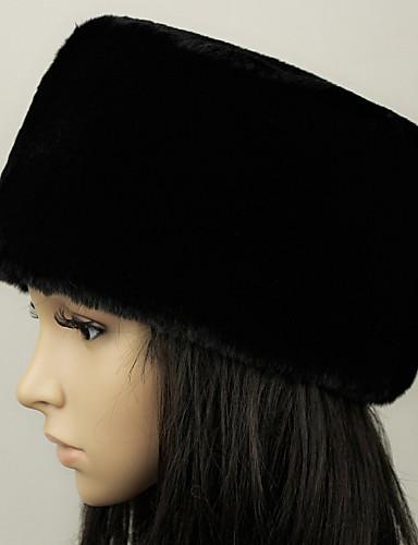 voordelige Damesaccessoires-Unisex Standaard Nepbont,Effen Floppy hoed-Winter Zwart Wit Kameel