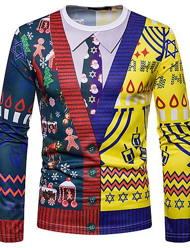 voordelige Heren T-shirts & tanktops-Heren Standaard Print T-shirt Geometrisch Kerstman Regenboog