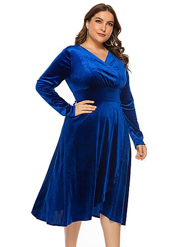 voordelige Grote maten jurken-Dames Standaard Elegant A-lijn Jurk - Effen, Patchwork Tot de knie