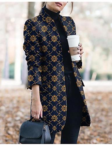 abordables Manteaux & Vestes Femme-Femme Quotidien Basique Hiver Longue Manteau, Géométrique Sans col Manches Longues Polyester Imprimé Noir