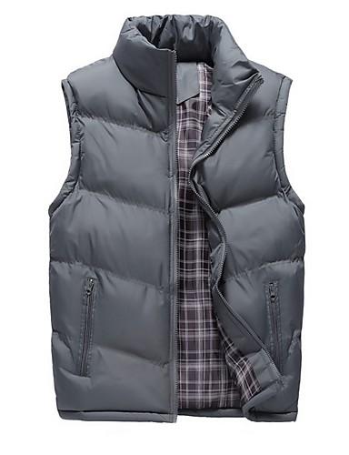 voordelige Heren donsjassen & parka's-Heren Effen Vest, Polyester Zwart / Leger Groen / Marine Blauw US32 / UK32 / EU40 / US36 / UK36 / EU44