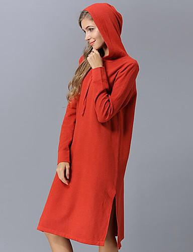 billige Dametopper-Dame Ensfarget Langermet Pullover, Med hette Svart / Fuksia / Blå En Størrelse