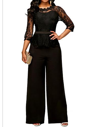 cheap Women's Jumpsuits & Rompers-Women's Basic Green Black Red Wide Leg Jumpsuit, Geometric Lace / Fashion L XL XXL Spring Summer Fall / Winter