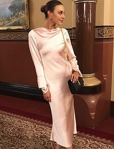 abordables Robes Femme-Femme Midi Gaine Robe Couleur Pleine Noir Rose Claire S M L Manches Longues