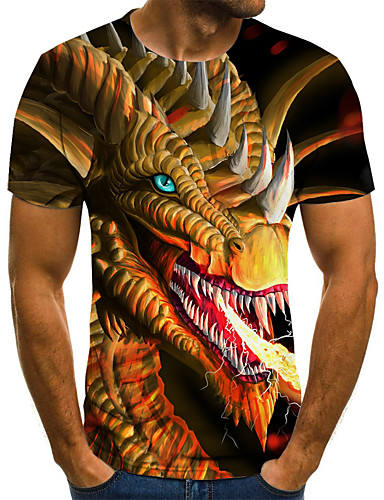 voordelige Heren T-shirts & tanktops-Heren Street chic Geplooid / Print T-shirt Geometrisch / 3D / dier Goud
