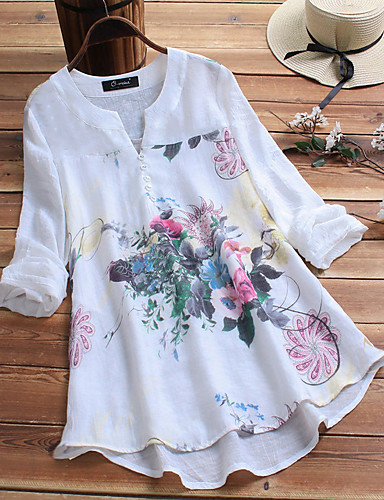 billige Dametopper-Løstsittende V-hals Store størrelser Skjorte Dame - Blomstret, Trykt mønster Chinoiserie / Elegant Hvit