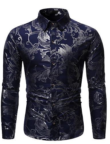 hesapli Erkek Gömlekleri-Erkek Gömlek Solid / Çiçekli / Grafik Rock Yıldızı / Abartılı Siyah