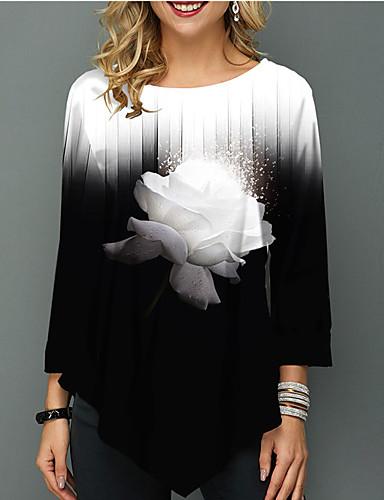 hesapli Tişört-Kadın's Tişört Zıt Renkli Siyah