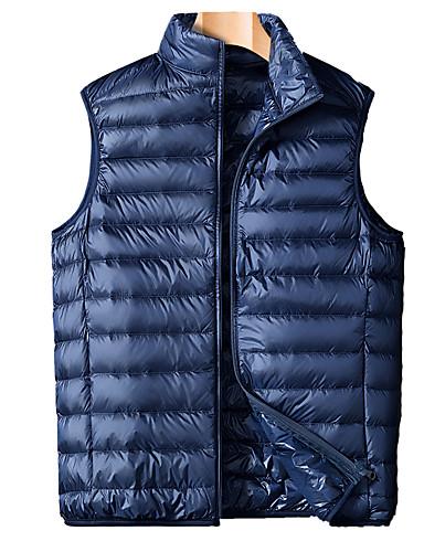 voordelige Heren donsjassen & parka's-Heren Effen Normaal Vest, POLY Zwart / Wijn / Licht Blauw US32 / UK32 / EU40 / US34 / UK34 / EU42 / US36 / UK36 / EU44