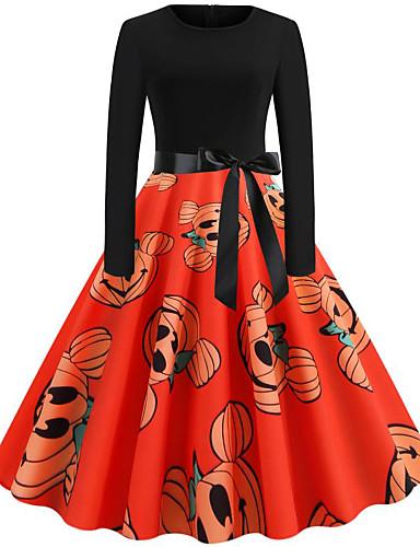 abordables Robes Femme-Femme Rétro Vintage Mini Trapèze Robe - Noeud Mosaïque Imprimé, Fruit Noir Orange Kaki S M L Manches Longues