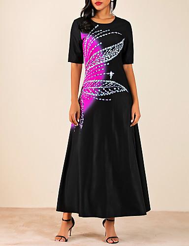 voordelige Maxi-jurken-Dames A-lijn Jurk - Kleurenblok Maxi