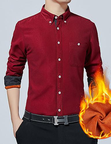 voordelige Herenoverhemden-Heren Standaard Overhemd Kleurenblok Wijn