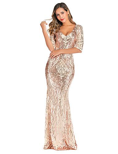 voordelige Maxi-jurken-Dames Street chic Elegant Bodycon Trompet / zeemeermin Jurk - Effen, Blote rug Pailletten Maxi
