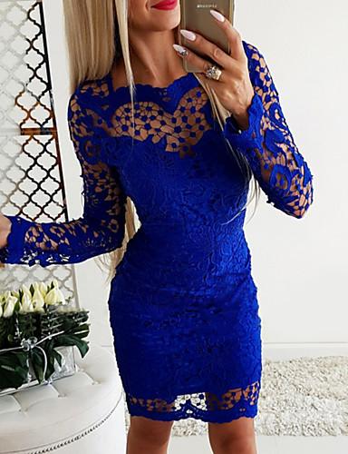 رخيصةأون فساتين الحفلات-فستان نسائي ضيق أساسي فوق الركبة لون سادة