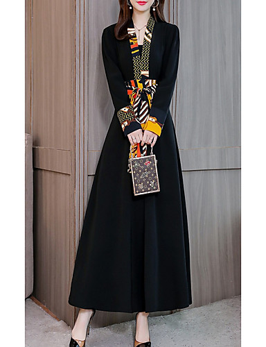 voordelige Maxi-jurken-Dames Elegant Klein en zwart Wijd uitlopend Jurk - Geometrisch Maxi