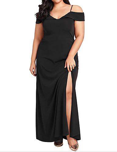 voordelige Grote maten jurken-Dames Street chic Elegant Bodycon Schede Jurk - Effen, Kant Split Patchwork Maxi