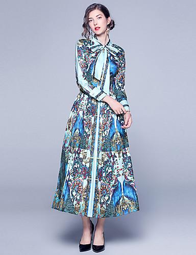 voordelige Maxi-jurken-Dames Boho A-lijn Jurk - Abstract, Print Maxi Blauw