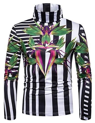voordelige Heren T-shirts & tanktops-Heren Standaard / Elegant T-shirt Bloemen / Kleurenblok Wit