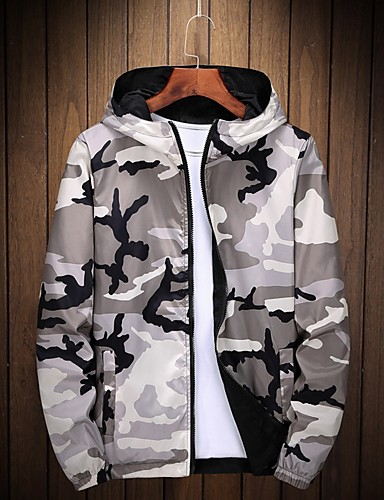 voordelige Herenjacks & jassen-Heren Dagelijks Normaal Jack, camouflage Capuchon Lange mouw Polyester Zwart / Leger Groen / Grijs