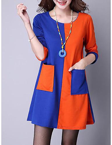 voordelige Grote maten jurken-Dames Standaard Street chic T Shirt Jurk - Kleurenblok, Patchwork Boven de knie