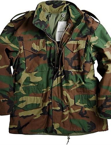 voordelige Herenjacks & jassen-Heren Dagelijks Herfst winter Normaal Jack, Effen / camouflage Opstaand Lange mouw Polyester Zwart / Leger Groen / Klaver