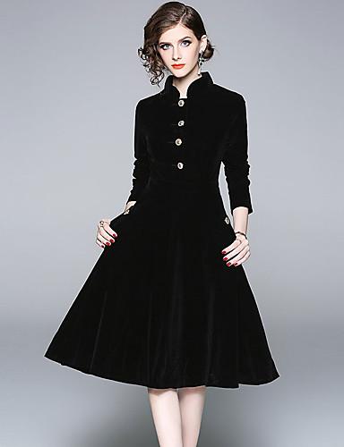 voordelige Grote maten jurken-Dames Vintage Elegant Schede Wijd uitlopend Jurk - Effen, Patchwork Midi