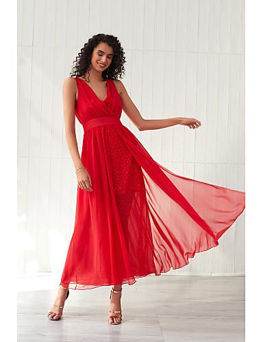 voordelige Maxi-jurken-Dames Standaard Wijd uitlopend Jurk - Effen, Blote rug Netstof Maxi Blauw Rood