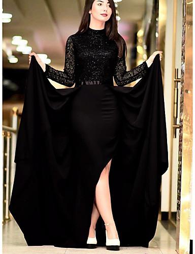 voordelige Maxi-jurken-Dames Street chic Schede Jurk - Effen Asymmetrisch