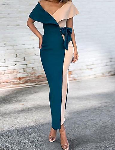 voordelige Maxi-jurken-Dames Standaard Schede Jurk - Kleurenblok Maxi