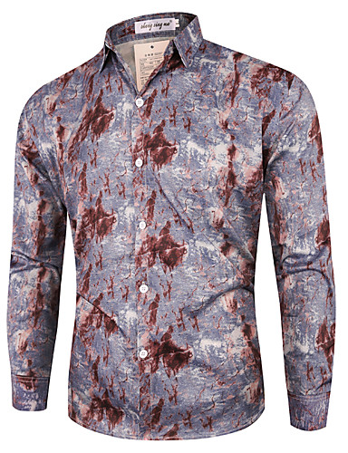 voordelige Herenoverhemden-Heren Street chic Overhemd Geometrisch Zwart