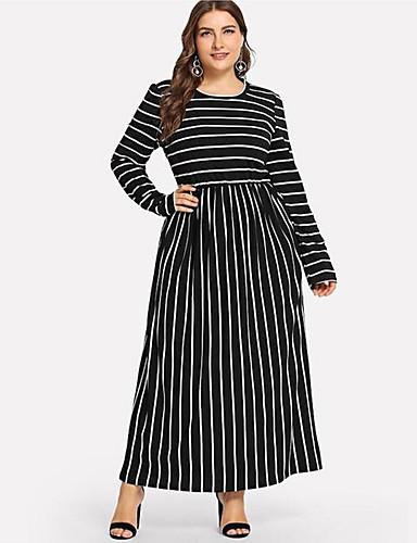 voordelige Grote maten jurken-Dames Standaard Wijd uitlopend Jurk - Gestreept Midi