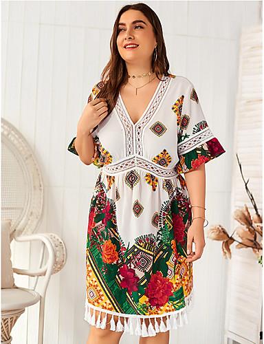 voordelige Grote maten jurken-Dames Standaard Schede Jurk - Bloemen Tot de knie