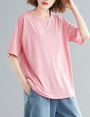 billige Dametopper-T-skjorte Dame - Ensfarget Grunnleggende Rød
