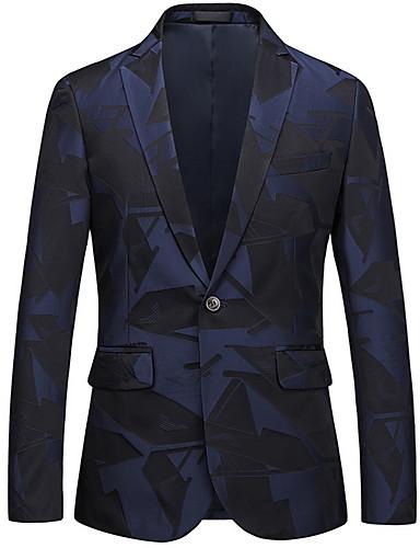 voordelige Herenblazers & kostuums-Heren Blazer, Geometrisch Ingesneden revers Polyester blauw
