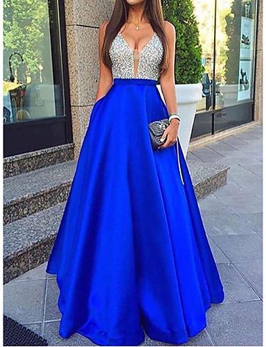 voordelige Maxi-jurken-Dames Street chic A-lijn Schede Jurk - Effen, Pailletten Maxi