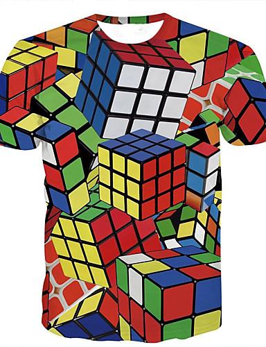 voordelige Heren T-shirts & tanktops-Heren Standaard Print T-shirt Geometrisch Magische kubussen Regenboog