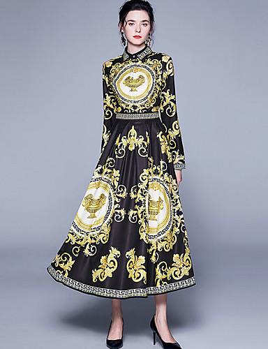 voordelige Maxi-jurken-Dames Vintage Standaard Schede Wijd uitlopend Jurk - Abstract, Patchwork Print Midi