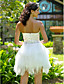baratos Vestidos de Casamento-De Baile Sem Alças Curto / Mini Cetim Tule Vestido de casamento com Cristais de LAN TING BRIDE®