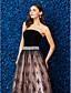 billige Kjoler til spesielle anledninger-Ballkjole Stroppeløs Gulvlang Blonder / Fløyel Kjole med Blonder / Krystallbrosje av TS Couture®