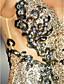 baratos Vestidos Baile Formatura-regresso a casa vestido de bainha / coluna v-pescoço até o chão de lantejoulas
