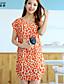 Bayanlar Splandeks/Polyester Diz üstü Kısa Kollu Yuvarlak Yaka Bayanlar Elbise