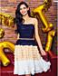 Trapèze Sans Bretelles Mi-long Mousseline de soie Soirée Cocktail Retour Promo Robe avec Billes Ceinture / Ruban Plissé par TS Couture®