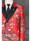זול חליפות-אדום דפוס גזרה צרה פוליאסטר חליפה - פתוח צר Double Breasted Two-button