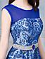 preiswerte Abendkleider-A-line Schaufel Nacken Boden Länge Tüll formale Abendkleid mit Perle Detaillierung