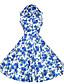 baratos Vestidos de Mulher-Mulheres Swing Vestido Vintage Floral Colarinho de Camisa Altura dos Joelhos Sem Manga Azul / Vermelho / Branco / Preto AlgodãoTodas as