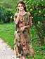 billige Kjoler-Kvinders Kineseri Casual/hverdag Løstsiddende Kjole Trykt mønster,Rund hals Knælang 1/2 ærmelængde Rød / Hvid / Grøn Rayon Sommer