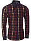 preiswerte Herrenhemden-Herren Hemd-Verziert Freizeit / Büro Baumwolle Lang Blau / Rot