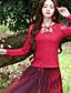 billige Kvinde Toppe-Langærmet Rund hals Medium Kvinders Rød Broderi Forår / Efterår Vintage I-byen-tøj T-shirt,Rayon / Spandex